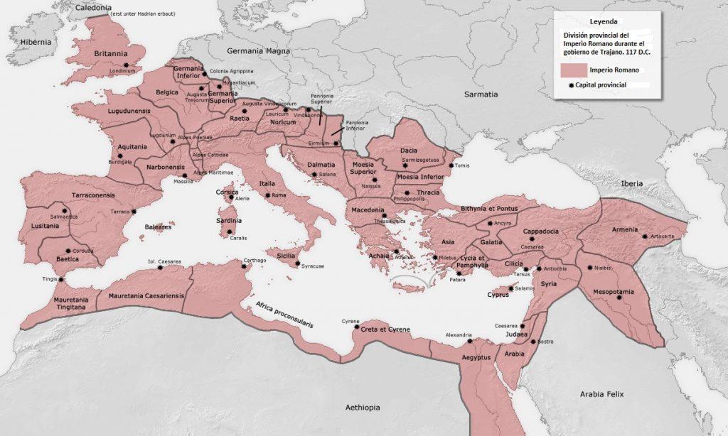 mapa imperio romano máxima expansión