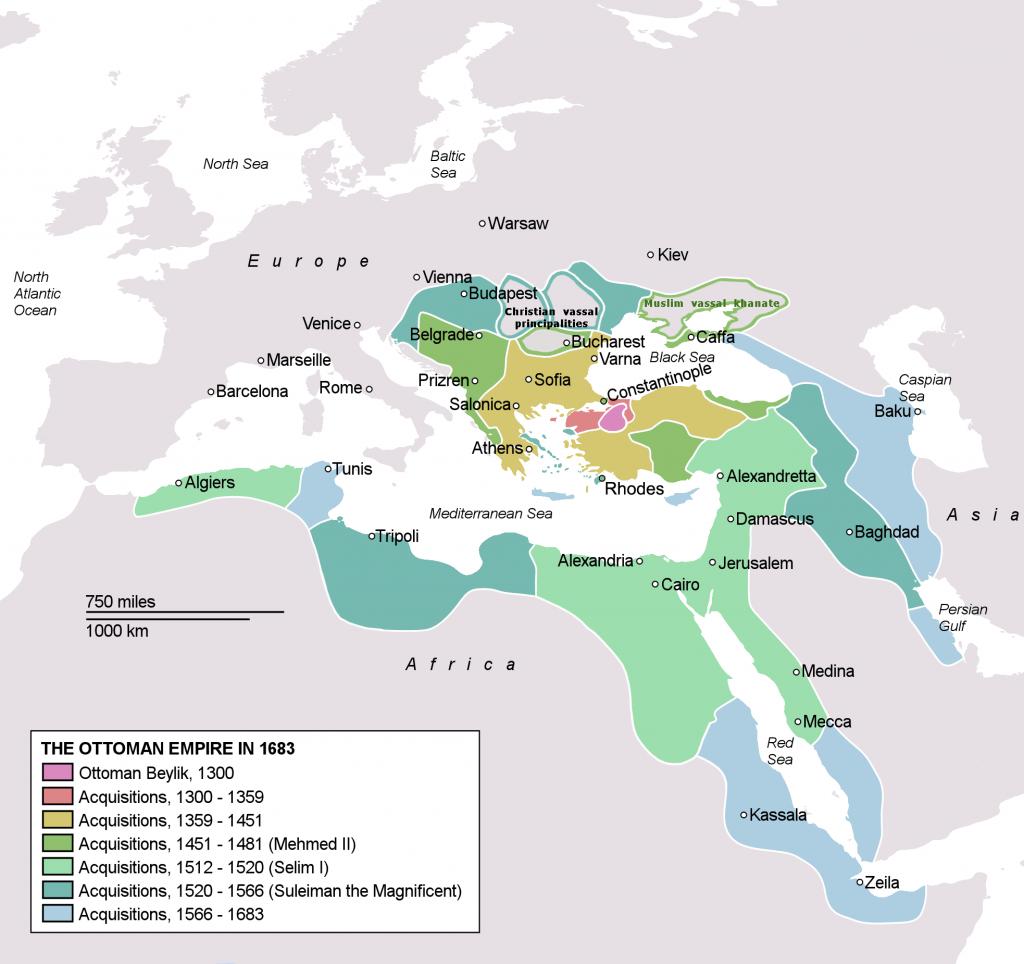 imperio otománo países